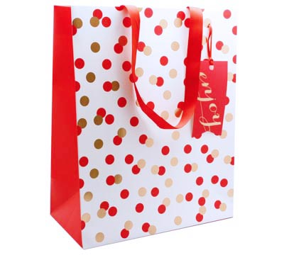 gift bag - large - confetti red/gold