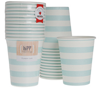 cups 250ml / 9oz - duck egg blue stripe