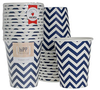 cups 250ml / 9oz - navy chevron