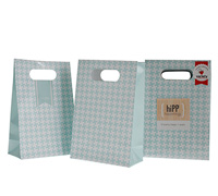 party bags & seals - duck egg blue houndstooth