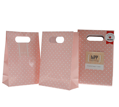 party bags & seals - sweet pink dot