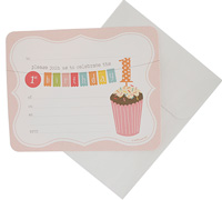 invitations - 1st birthday - pink
