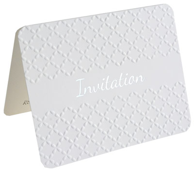 invitations - embossed - white