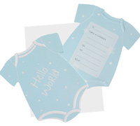 invitations - onesie - blue