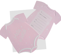 invitations - onesie - pink
