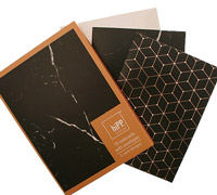 notecards - black marble & black/copper foil