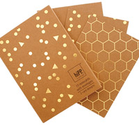 notecards - confetti & kraft gold foil honeycomb