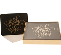 boxed thank you cards - black/gold