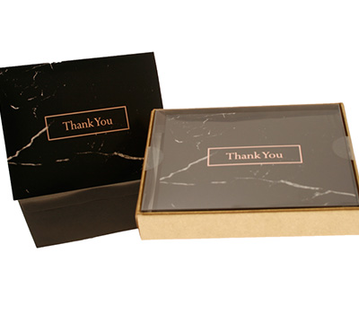 boxed thank you cards - black marble/foil