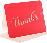 thank you cards - cerise/gold