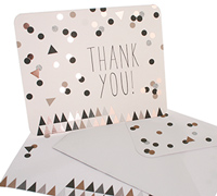 thank you cards - confetti black/gold