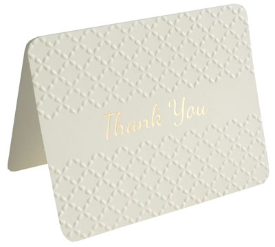 thank you cards - embossed - creme