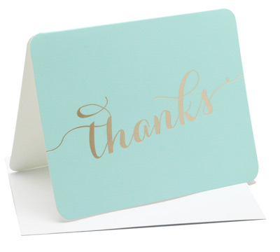 thank you cards - mint/gold
