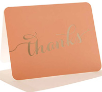 thank you cards - peach/gold