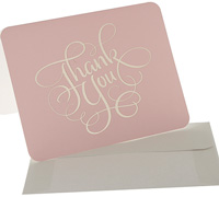 thank you cards - sweet pink/gold