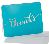 thank you cards - teal/gold